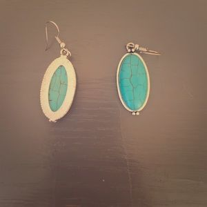Turquoise and Sterling Silver oval earrings